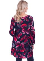 Long Sleeve Printed Jersey Tunic Navy/Pink - Gallery Image 2