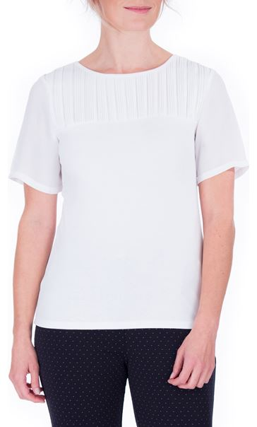 Anna Rose Pleated Chiffon And Jersey Short Sleeve Top Ivory - Gallery Image 2