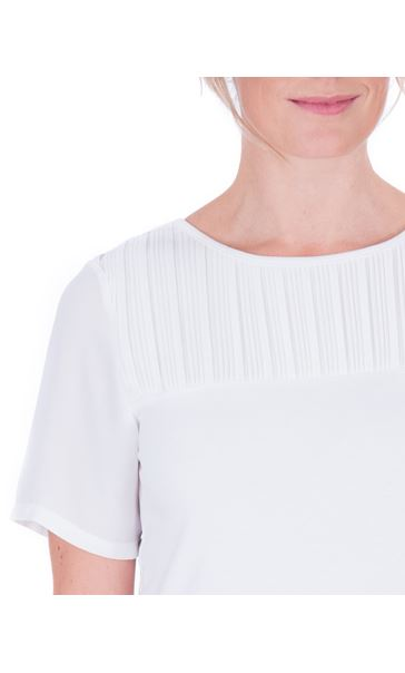 Anna Rose Pleated Chiffon And Jersey Short Sleeve Top Ivory - Gallery Image 4