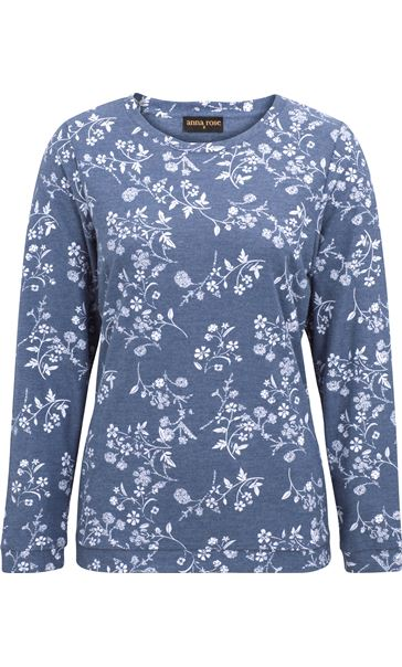 Anna Rose Floral Printed Long Sleeve Top Blue/White