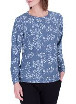 Anna Rose Floral Printed Long Sleeve Top Blue/White - Gallery Image 2