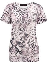 Anna Rose Animal Printed Top Ivory/Grey/Pink - Gallery Image 1