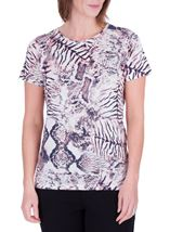 Anna Rose Animal Printed Top Ivory/Grey/Pink - Gallery Image 2