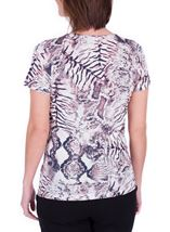 Anna Rose Animal Printed Top Ivory/Grey/Pink - Gallery Image 3