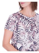 Anna Rose Animal Printed Top Ivory/Grey/Pink - Gallery Image 4