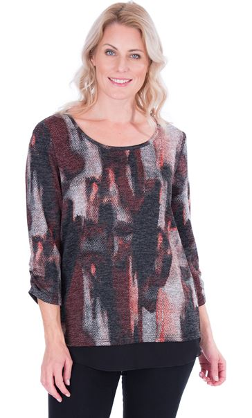Printed Knit And Georgette Trim Top Black/Red
