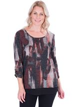 Printed Knit And Georgette Trim Top Black/Red - Gallery Image 1
