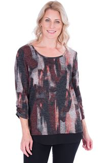 Printed Knit And Georgette Trim Top