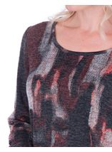 Printed Knit And Georgette Trim Top Black/Red - Gallery Image 3