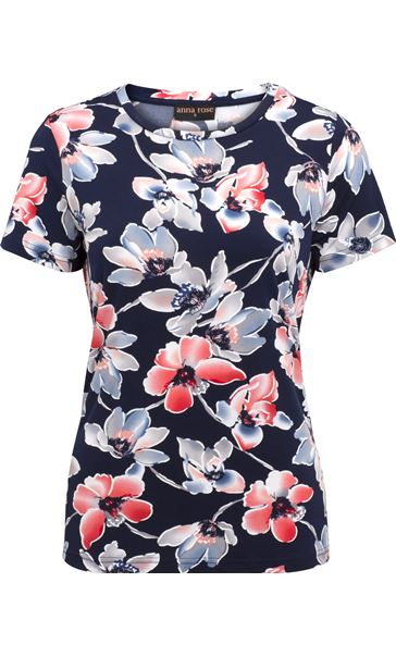 Anna Rose Watercolour Short Sleeve Jersey Top Midnight/Coral