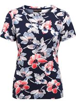 Anna Rose Watercolour Short Sleeve Jersey Top Midnight/Coral - Gallery Image 1