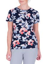 Anna Rose Watercolour Short Sleeve Jersey Top Midnight/Coral - Gallery Image 2