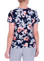 Anna Rose Watercolour Short Sleeve Jersey Top Midnight/Coral - Gallery Image 3