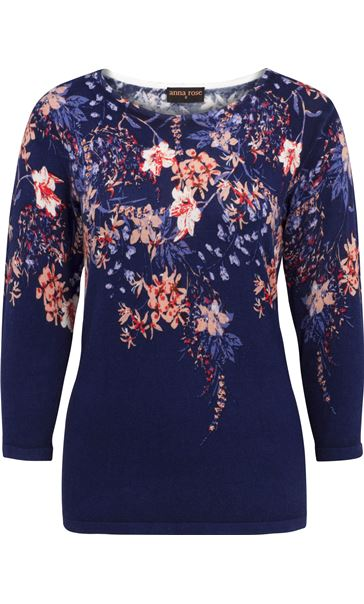 Anna Rose Embellished Floral Knit Top Midnight/Multi
