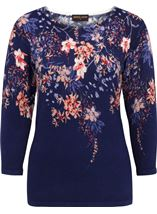 Anna Rose Embellished Floral Knit Top