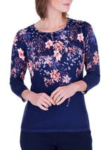 Anna Rose Embellished Floral Knit Top Midnight/Multi - Gallery Image 2