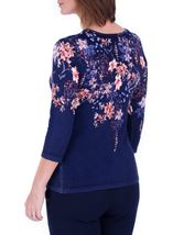 Anna Rose Embellished Floral Knit Top Midnight/Multi - Gallery Image 3