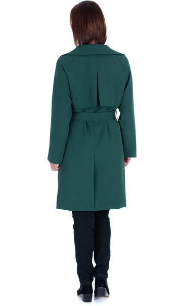 Belted Trench Coat Green - Gallery Image 2