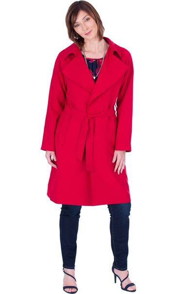 Belted Trench Coat Red