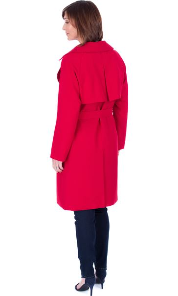 Belted Trench Coat Red - Gallery Image 2