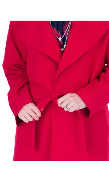Belted Trench Coat Red - Gallery Image 3