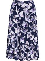 Anna Rose Floral Printed Midi Skirt Navy/Lilac - Gallery Image 1