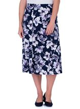 Anna Rose Floral Printed Midi Skirt Navy/Lilac - Gallery Image 2