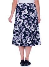 Anna Rose Floral Printed Midi Skirt Navy/Lilac - Gallery Image 3