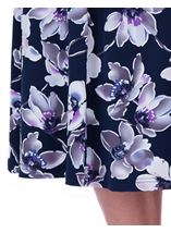 Anna Rose Floral Printed Midi Skirt Navy/Lilac - Gallery Image 4