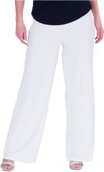 Wide leg Pull On Trousers Ivory - Gallery Image 1