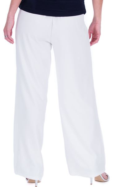 Wide leg Pull On Trousers Ivory - Gallery Image 2
