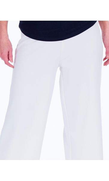 Wide leg Pull On Trousers Ivory - Gallery Image 3