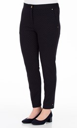 Anna Rose Spot Jacquard Stretch Trousers Midnight - Gallery Image 1