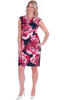 Bold Floral Sleeveless Scuba Dress