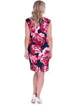 Bold Floral Sleeveless Scuba Dress Navy/Watermelon - Gallery Image 2