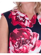 Bold Floral Sleeveless Scuba Dress Navy/Watermelon - Gallery Image 3