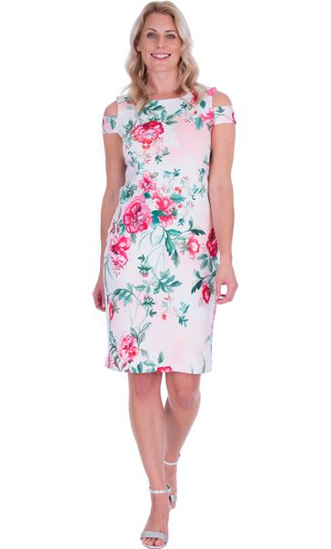 Floral Sketch Printed Scuba Dress Ivory/Watermelon