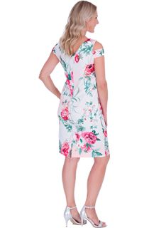 Floral Sketch Printed Scuba Dress