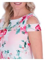 Floral Sketch Printed Scuba Dress Ivory/Watermelon - Gallery Image 3