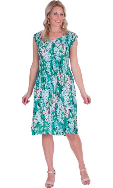 Garden Print Pleated Round Neck Midi Dress Emerald/Multi