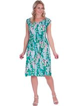 Garden Print Pleated Round Neck Midi Dress Emerald/Multi - Gallery Image 1