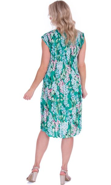 Garden Print Pleated Round Neck Midi Dress