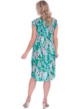 Garden Print Pleated Round Neck Midi Dress Emerald/Multi - Gallery Image 2