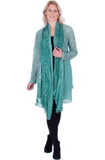 Long Sleeve Open Front Drape Cardigan - Green