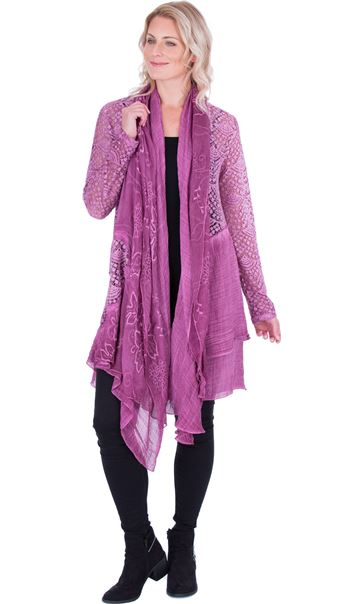 Long Sleeve Open Front Drape Cardigan - Heather