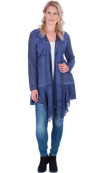 Lace Trim Knitted Cardigan Blue