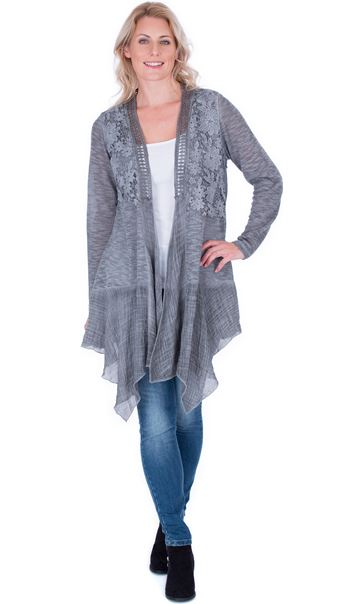 Lace Trim Knitted Cardigan Grey