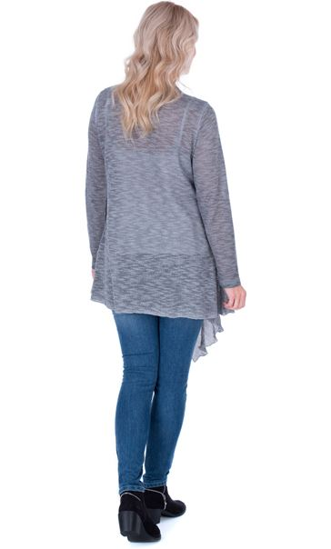 Lace Trim Knitted Cardigan Grey - Gallery Image 2