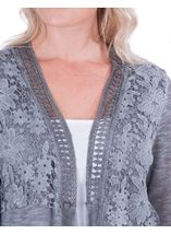 Lace Trim Knitted Cardigan Grey - Gallery Image 3