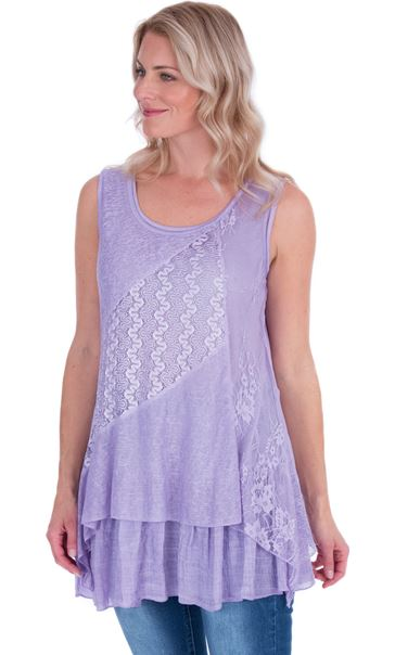 Lace Panel Layered Sleeveless Top Lilac